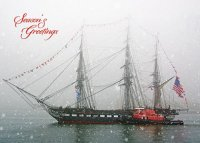 Snowing on Ironsides Boston Holiday Card