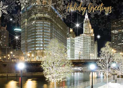 Chicago River at Night Festive Holiday Card