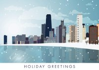 Snowing on Chicago Skyline Holiday Card