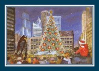 Chicago Holiday Card featuring Tree Lighting in Daley Plaza from a watercolor by Gail Basner