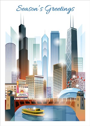 Chicago City View Holiday Card