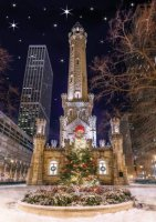 Festive Chicago Water Tower Christmas Card