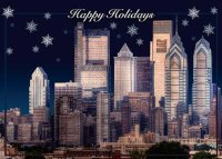 Evening Skyline of Philadelphia Holiday Card