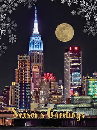 Super Moon over New York Holiday Card
