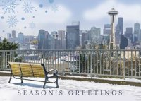 Seattle Bench Skyline Christmas Holiday Card