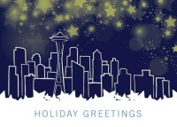Seattle Starry Night Business Holiday Card