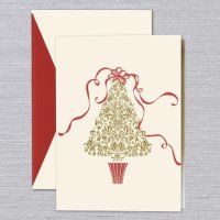 Ribbon Tree Christmas Holiday Card by William Arthur