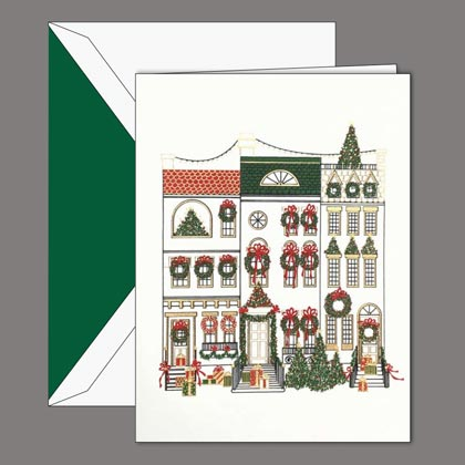 Crane CHEERFUL BROWNSTONES Christmas Card