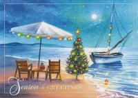 Warm Greetings Beach Christmas Card