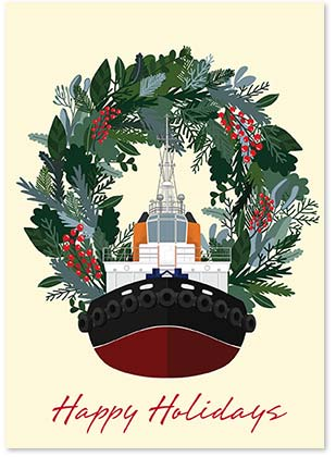 Tugboat Greetings Nautical Holiday Cards