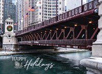 Chicago Michigan Avenue Bridge Business Holiday Cards