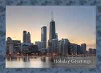 Northern Chicago Sunset Skyline Holiday Cards