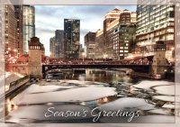 Chicago Winter Riverwalk Business Holiday Cards