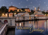 Philadelphia Water Works Skyline Holiday and Christmas Card