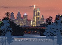 Cooper River at Sunset over Philadelphia Holiday Cards