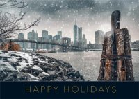 New York East River Snowfall Holiday Card
