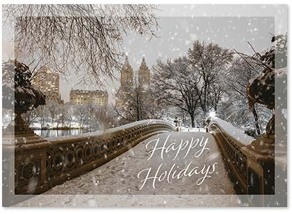 Bow Bridge Winter in New York's Central Park Holiday Card