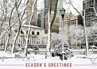Snow on Bryant Park and New York Public Library Holiday Card