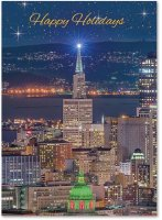 Star over San Francisco business Christmas cards
