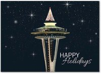 Glistening Seattle Space Needle Christmas Holiday Cards