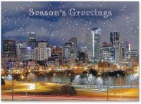 Denver Winter Night Business Holiday Card