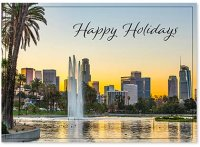 Dawn at Echo Park in Los Angeles Christmas Holiday Card
