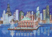 Holidays at the Navy Pier in Chicago Holiday Card by Artist Gail Basner
