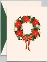 Crane POINSETTIA WREATH Christmas Holiday Card