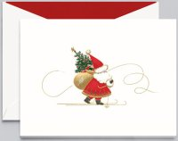 Crane SKIING SANTA Christmas Card