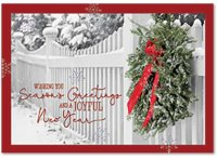 Garden Gate Seasons Greetings Holiday Card
