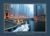 Chicago River Twilight Winter Holiday Card
