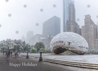 Chicago Snow in Millennium Park Christmas Card