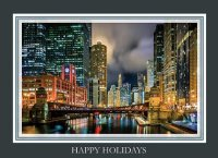 Colorful Chicago River Evening Holiday Cards