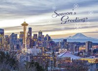 Early Morning in Seattle Holiday Card