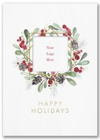 Holiday Showcase Greeting Card with Wreath and Company Logo