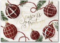 Greetings in Plaid Ornaments Christmas & Holiday Cards