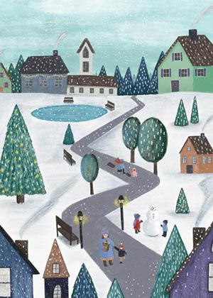 Peaceful Village Charity Holiday Card supporting the National Alliance to End Homelessness