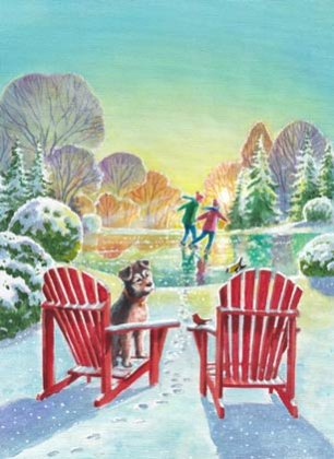Adirondack Chairs Charity Holiday Card supporting Prevent Child Abuse America