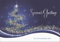 Wrapped in Magic business front imprint holiday card with Season's Greetings