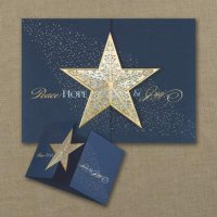 Golden Star Hope, Joy and Peace Holiday Card