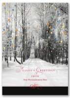 Treeline Lights Winter Scenes Christmas Holiday Card