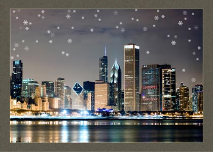 Chicago Winter Night Holiday Card