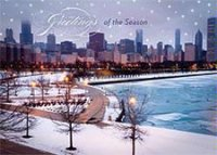 Chicago Lakefront Skyline Holiday Card
