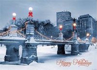 Boston Winter - Public Garden Bridge Holiday Card