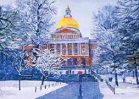 Massachusetts Statehouse Winter Holiday Card