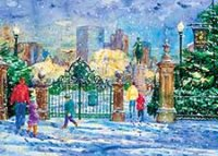 Garden Gate Snowfall Holiday Card