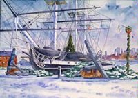 The USS Constitution Boston Holiday Card