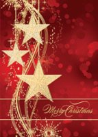 Golden Stars Merry Christmas Card