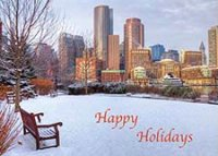Winiter in Boston Holiday card featuring Boston Harbor under a new blanket of snow.