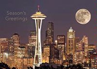 Seattle Full Moon Rising Holiday Card